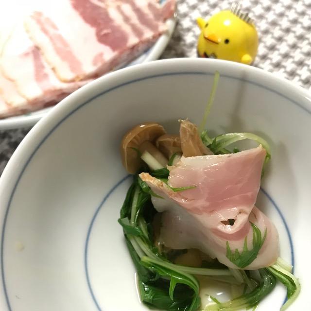 尾鈴豚ベーコンスライスの水菜しゃぶしゃぶ