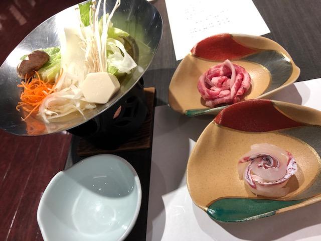 茶玻瑠ディナー鯛しゃぶ・豚しゃぶ
